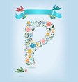 floral letter p with blue ribbon and three doves vector image
