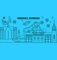 germany duisburg winter holidays skyline merry vector image vector image