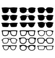 glasses silhouette geek eyewear cool sunglasses vector image