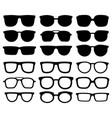 glasses silhouette geek eyewear cool sunglasses vector image