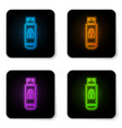 glowing neon usb flash drive with closed padlock vector image vector image