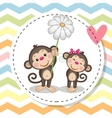 Greeting card with two Monkeys vector image vector image
