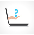 hand holding question mark comes from laptop scree vector image vector image