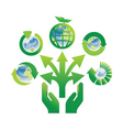 hand holding recycle icons vector image vector image