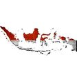 Indonesia map with flag inside vector image vector image