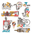 jazz night or live music festival concert logo vector image vector image