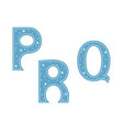 letters p q r decorated with snowflakes isolated vector image vector image