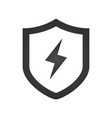 lightning and shield symbol protect logo template vector image vector image