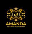 logo amanda gold color luxury style vector image