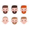 man character set persons faces in closeup vector image