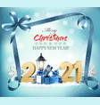 merry christmas and new year background with 2021 vector image vector image