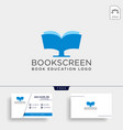 monitor book online education simple logo vector image vector image