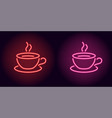 neon cup and saucer in red and pink color vector image