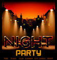 night party with city on background with spotlight vector image vector image