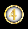 number four on badge design image vector image vector image