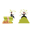 office worker lying on money pile set vector image vector image