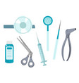 otolaryngology tools icons flat style ent vector image vector image
