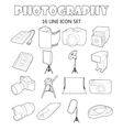 Photography icons set outline style vector image vector image