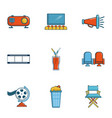 private movie event icons set cartoon style vector image vector image