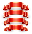 Red Glossy ribbons with a yellow stripe vector image vector image