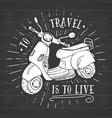 scooter motorbike vintage label hand drawn sketch vector image vector image