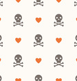 Seamless pattern with skulls and hearts vector image vector image