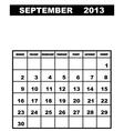 september calendar 2013 vector image vector image