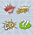 set four colored speech bubbles on a gray vector image