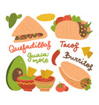 set mexicantraditional food- taco burrito vector image
