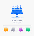 solar panel energy technology smart city 5 color vector image