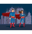 superheroes on urban landscape background vector image