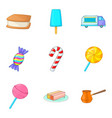 sweetmeat icons set cartoon style vector image vector image