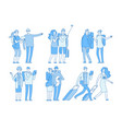 tourist characters people with suitcases bags vector image