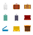 travel suitcase icon set flat style vector image