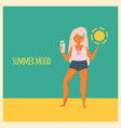 trendy girl standing on beach holding lemonade vector image