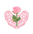 valentines day card with pink rose and heart vector image vector image