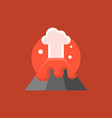 volcano eruption with red lava and mushroom cloud vector image