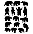 Wild Animal Bear Silhouette Set vector image vector image