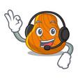 with headphone hard shell mascot cartoon vector image vector image