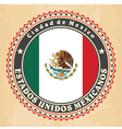 Vintage label cards of Mexico flag vector image