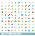 100 autoservice icons set cartoon style vector image vector image