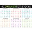 180 trendy gradient thin line icons set vector image vector image