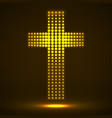 abstract neon halftone cross christian symbol vector image vector image