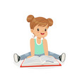 adorable little girl sitting on the floor and vector image vector image