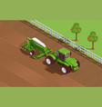 agricultural machines isometric background vector image vector image