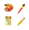 Artistic paints and pencils vector image