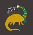 barosaurus dressed as santa claus vector image vector image