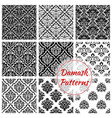 black and white damask floral seamless pattern vector image vector image