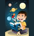 boy reading astronomy book vector image