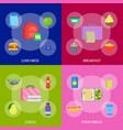 cartoon color school lunch food boxes banner set vector image vector image